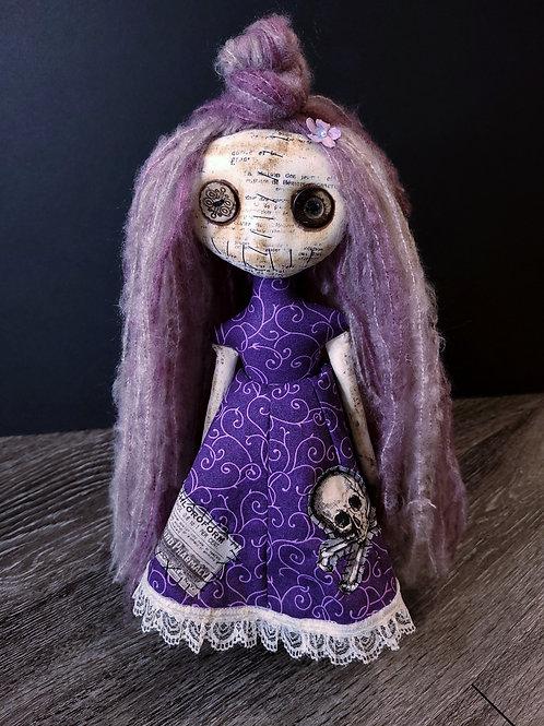 "13"" Handmade Mini Moody Doll (Purple)"