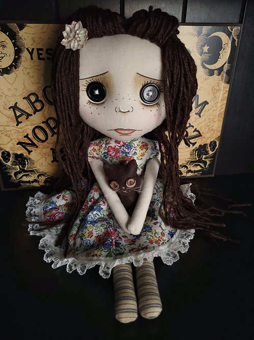 "18"" Handmade Pouty Doll with Cat - Brown Hair"