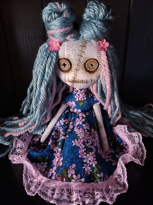 "13"" Handmade Mini Moody Doll - Pink and Blue"