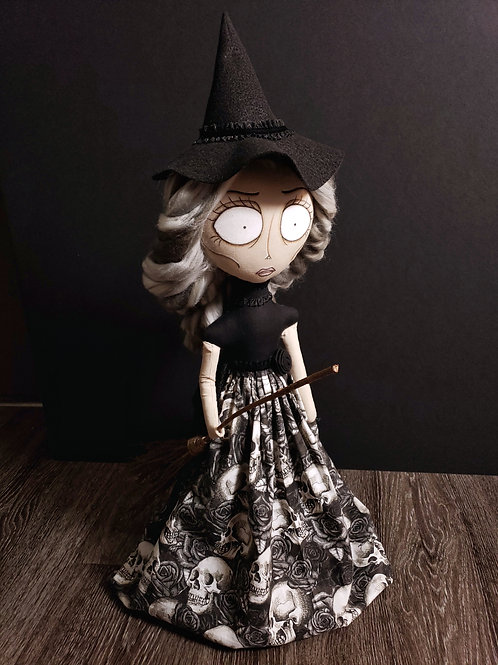 "20"" Handmade Witch Doll with Broom"