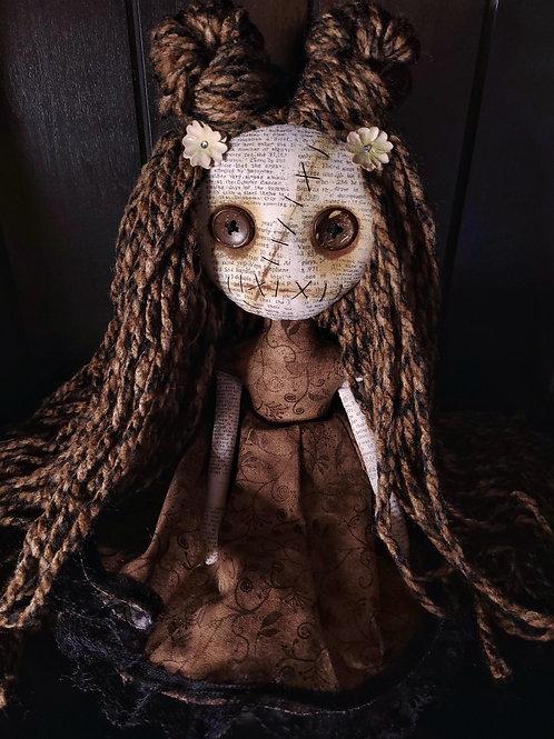 "13"" Handmade Mini Moody Doll - Brown"