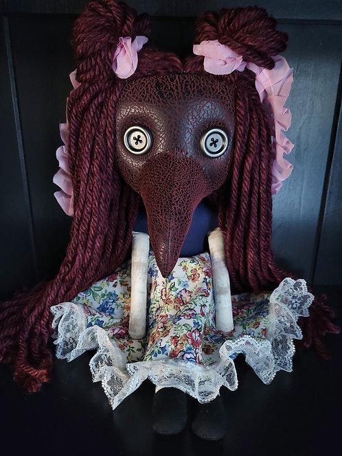 "18"" Handmade Plague Doctor Doll - Red"