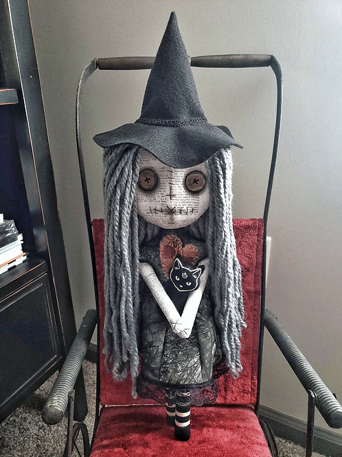 "18"" Handmade Witch Doll with Cat"