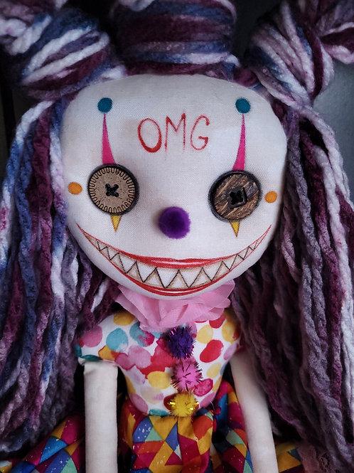 """18"""" Handmade Chatter Clown Doll """"OMG"""""""
