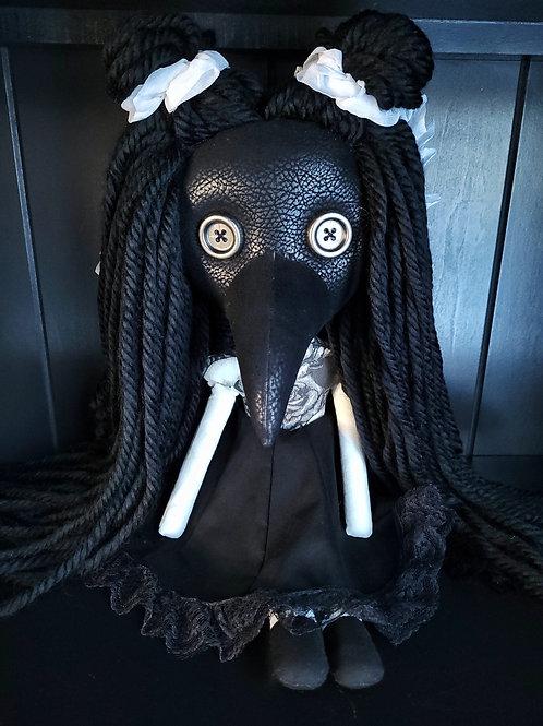 "18"" Handmade Plague Doctor Doll - Black"