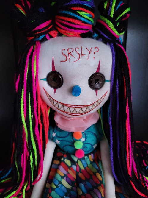 "18"" Handmade Chatter Clown Doll ""Srsly?"""
