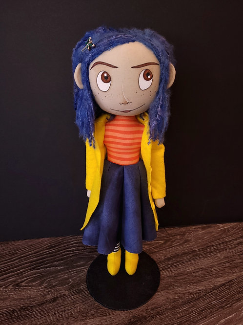 "18"" Handmade Coraline Doll (Full Face - Yellow Coat)"