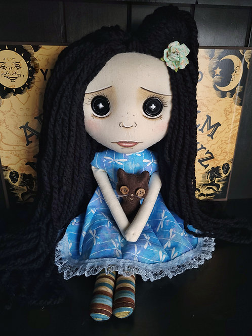 """18"""" Handmade Pouty Doll with Cat - Black Hair"""