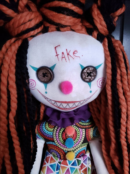 "18"" Handmade Chatter Clown Doll ""Fake"""