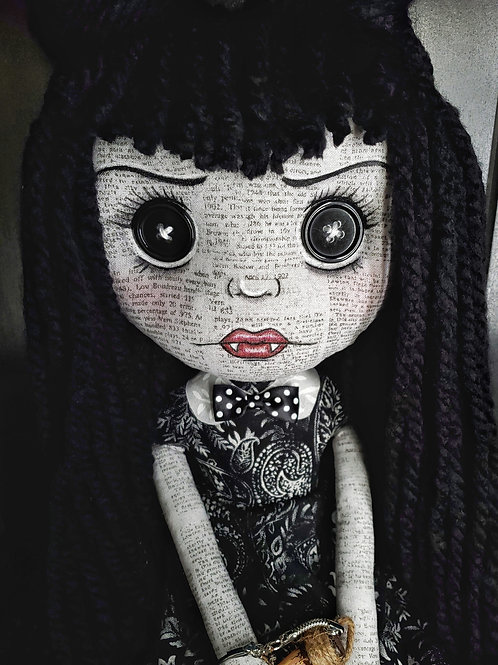 "16"" Handmade Vampire Doll with Stake"