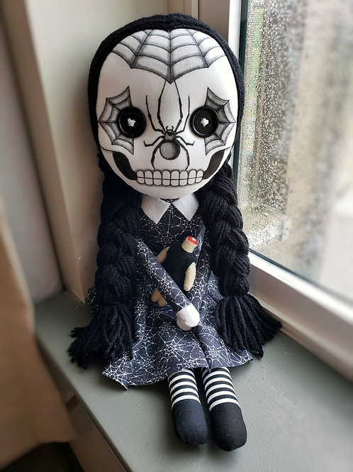 "16"" Handmade Sugar Skull Wednesday Addams"