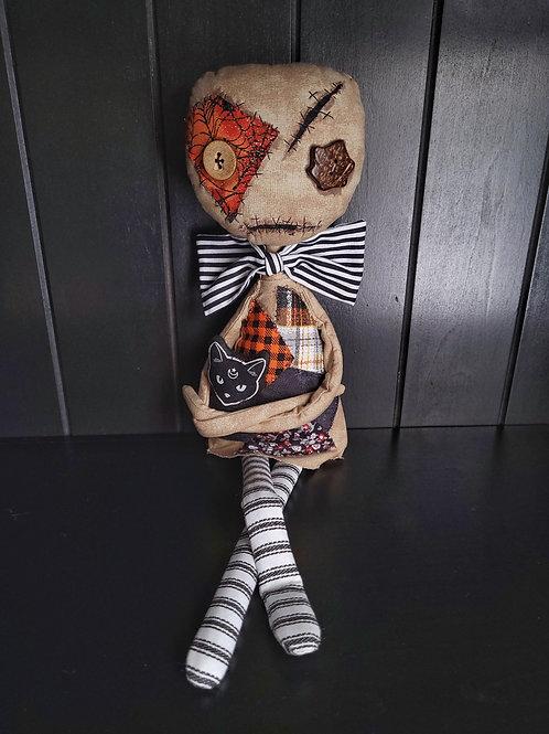 "19"" Handmade 'Tood Voodoo Doll with Cat"