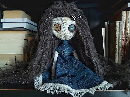 "13"" Handmade Mini Moody Doll (Dark Hair)"