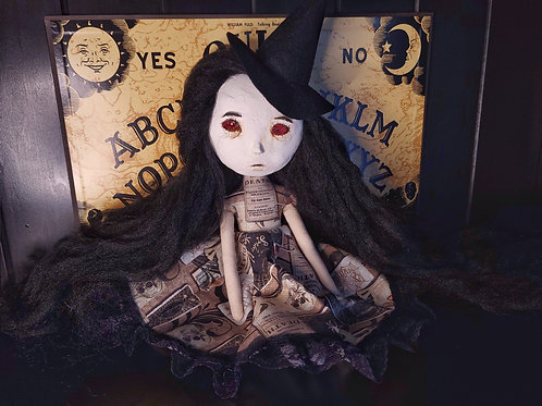 """13"""" Handmade Mini Sculpted Clay-face Doll (Witch)"""