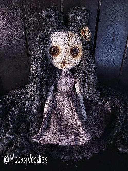 """13"""" Handmade Mini Moody Doll - Black & Gray"""