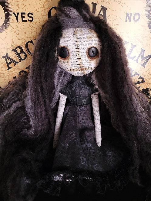 "13"" Handmade Mini Moody Doll (Black)"