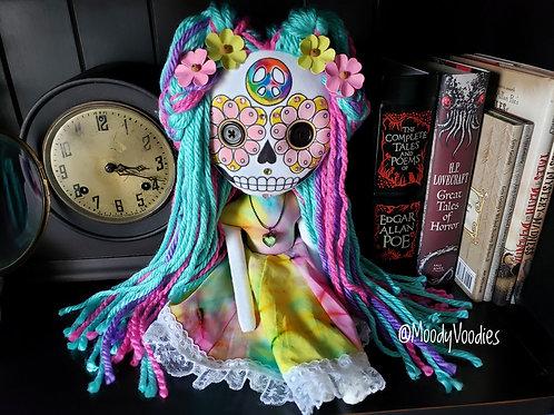 """16"""" Handmade Hippie Sugar Skull Doll"""