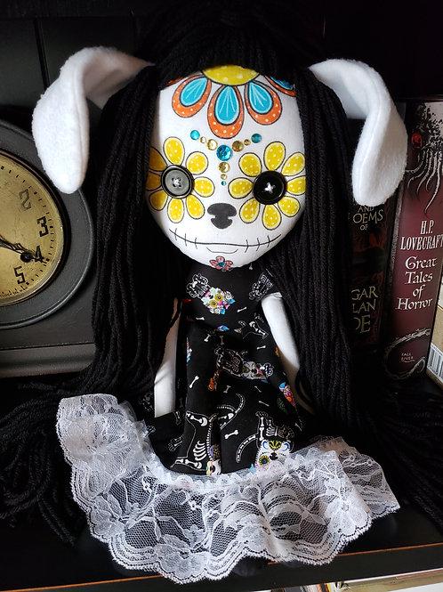 """16"""" Handmade """"Puppy Love"""" Sugar Skull Doll"""