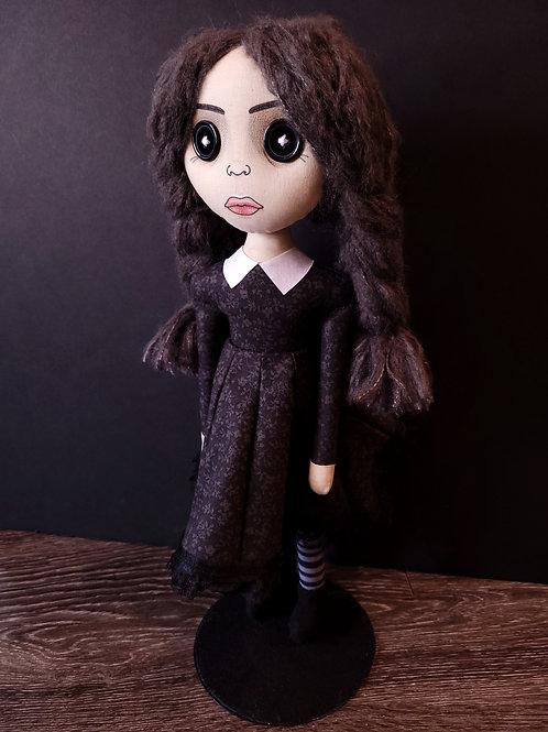 "18"" Handmade Wednesday Addams Doll (Button-Eyed)"