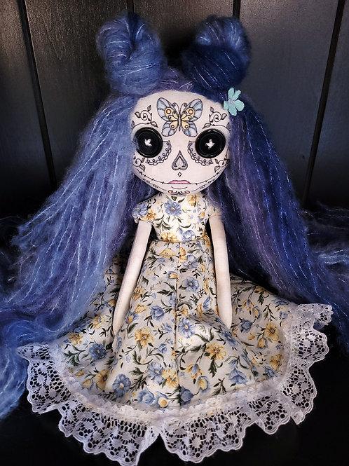 "13"" Handmade Mini Moody Sugar Skull Doll (Blue)"