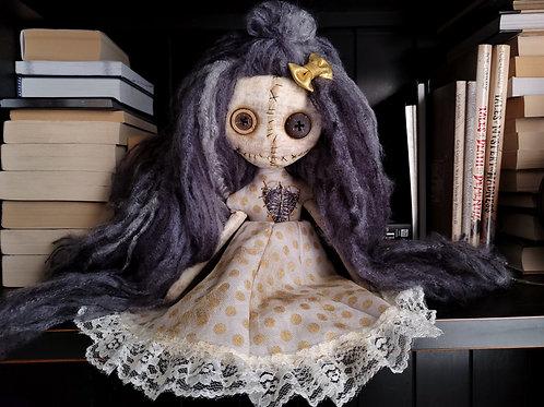 "13"" Handmade Mini Moody Doll (Polka Dot Dress)"