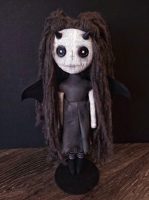 """18"""" Handmade Winged Demon Doll with Horns"""