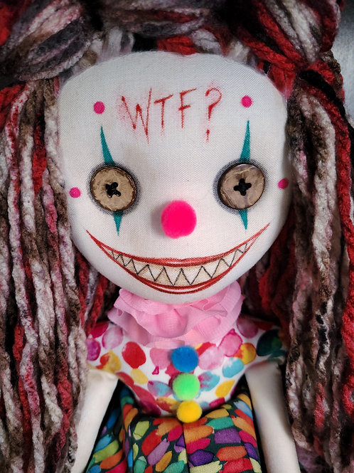 "18"" Handmade Chatter Clown Doll ""WTF?"""