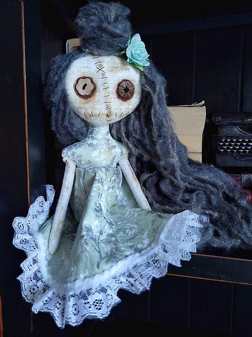"13"" Handmade Mini Moody Doll (Green Tones)"