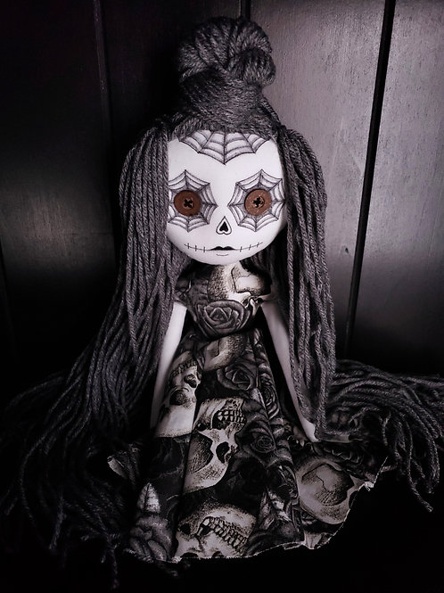 "13"" Handmade Mini Moody Sugar Skull Doll"