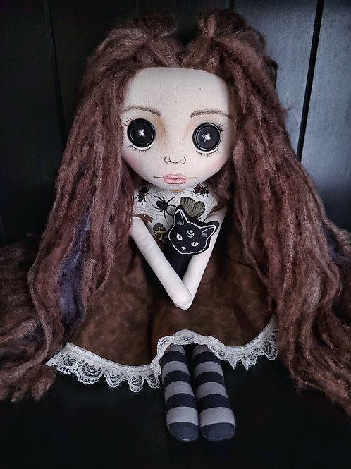 """18"""" Handmade Doll with Cat"""