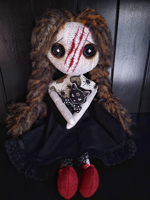 "18"" Handmade Slashed-face Doll with Cat"