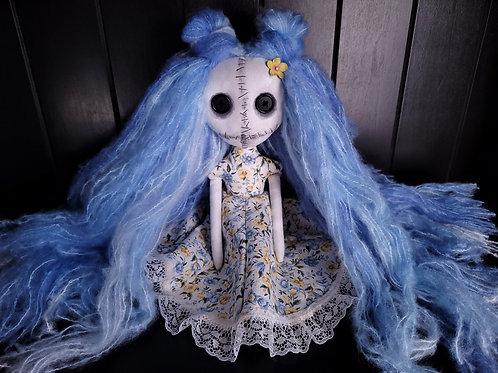 "13"" Handmade Mini Moody Doll (Blue)"
