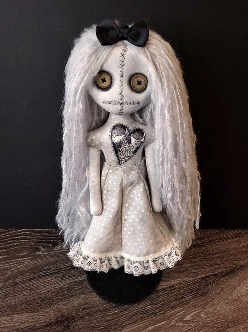 "18"" Handmade Moody Grungy Doll  (White Hair)"