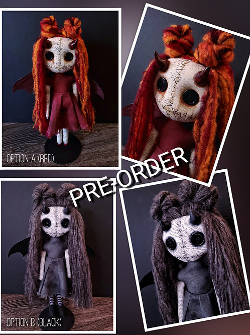 PRE-ORDER Handmade Demon Doll with Horns (Please Read)