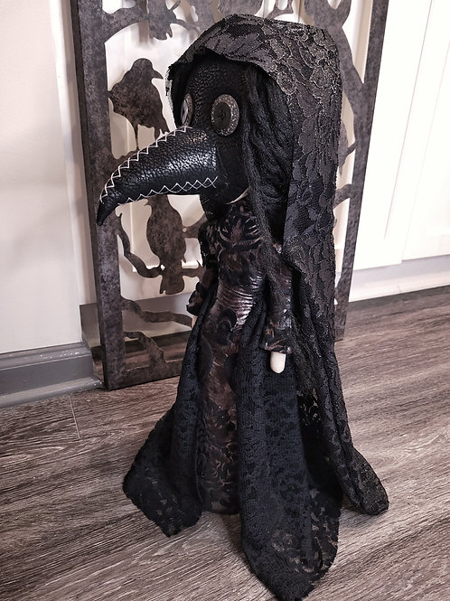 """22"""" Handmade Free-standing Plague Doctor Doll (With Hood)"""
