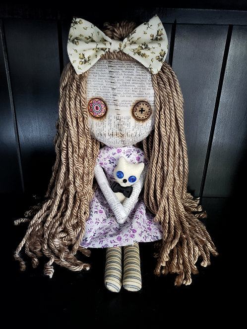 """16"""" Handmade Grungy Doll with Cat"""