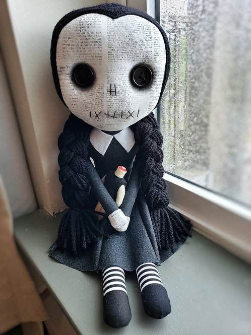 "16"" Handmade Wednesday Addams Doll"