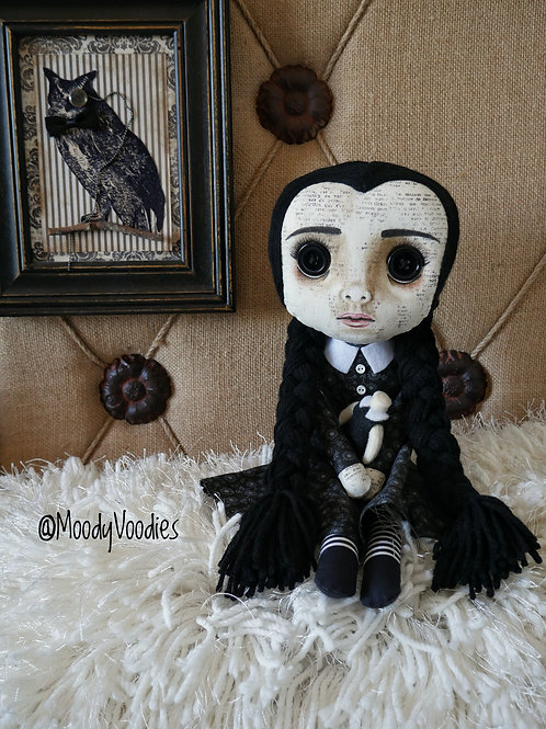 "16"" Handmade Wednesday with Headless Doll"