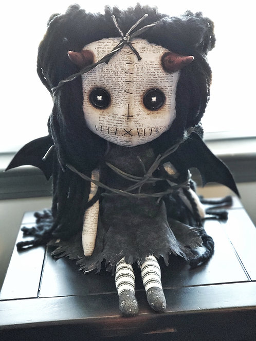 "16"" Handmade Winged Demon Doll w/Barbed Wire"