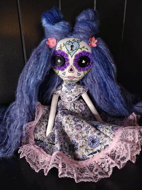 "13"" Handmade Mini Moody Sugar Skull Doll"