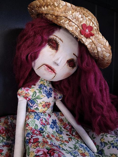 "13"" Handmade Mini Sculpted Clay-face Doll (Garden Hat)"