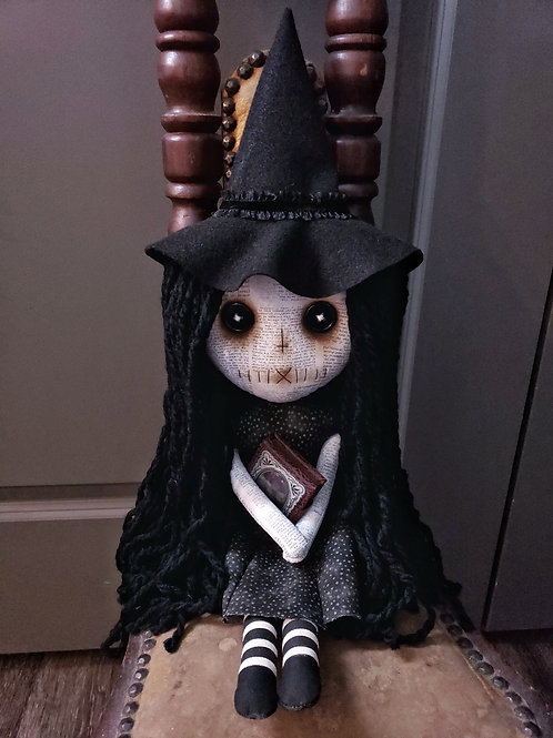 "18"" Handmade Witch Doll with Book"