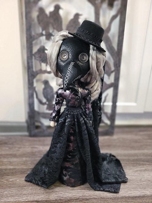 "22"" Handmade Free-standing Plague Doctor Doll (Gray Hair)"