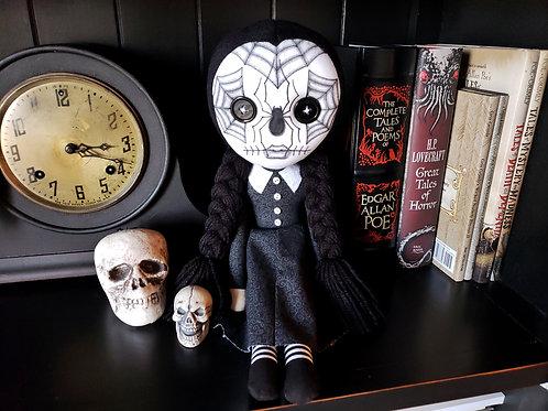 """16"""" Handmade Wednesday Addams Sugar Skull Doll"""