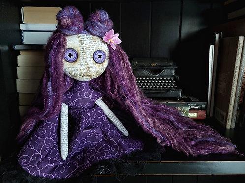 """13"""" Handmade Mini Moody Doll (Purple Tones)"""