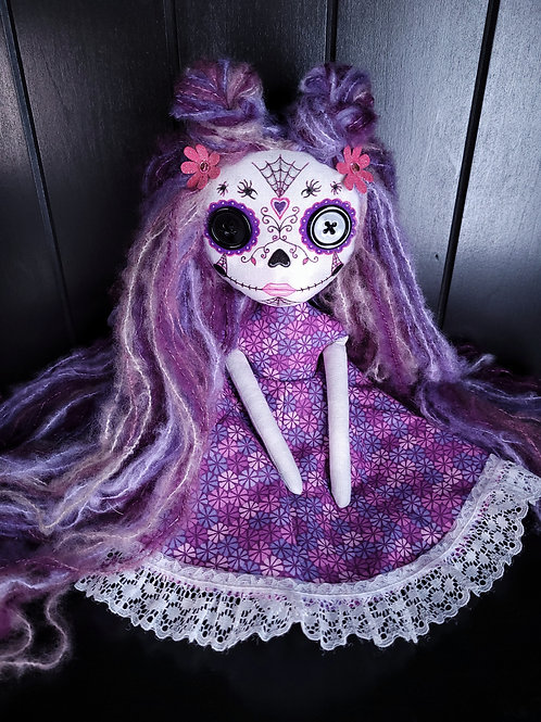 "13""Handmade Mini Moody Sugar Skull Doll"