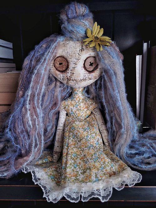 "13"" Handmade Mini Moody Doll (Blue/Lavender Hair)"
