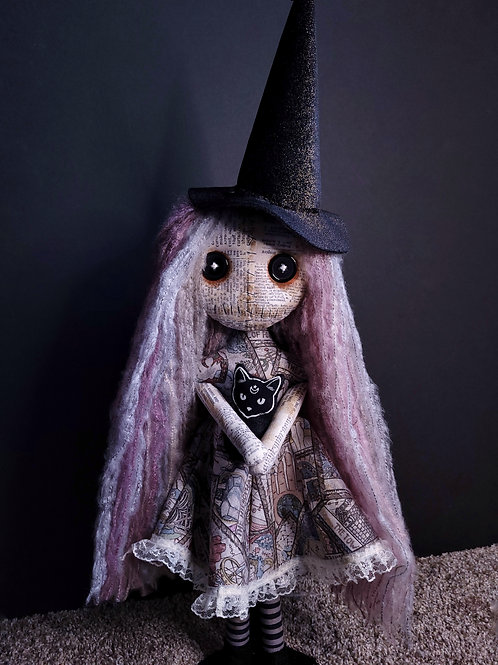 """18"""" Handmade Witch Doll with Cat"""