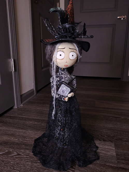 """20"""" Handmade Free-standing Witch Doll with Book"""