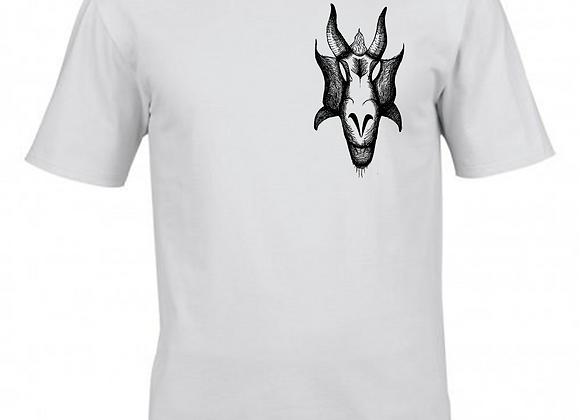 Capricorn Illustration- Breast Print- White T-Shirt